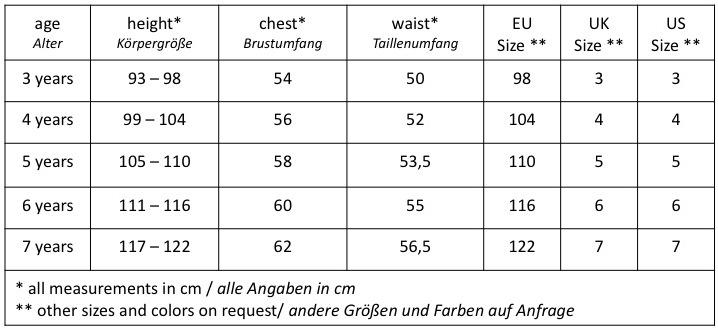 Tabelle aller Größen und Maße der KINDZ Kinderanzüge